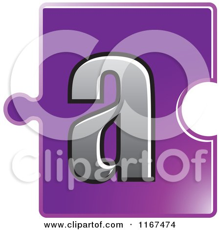 Clipart of a Purple Jigsaw Puzzle Piece Letter a - Royalty Free Vector Illustration by Lal Perera