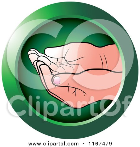 Clipart of a Round Green Cupped Baby Hands Icon - Royalty Free Vector Illustration by Lal Perera