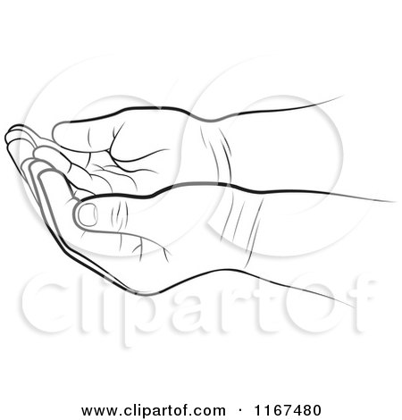 Clipart of Black and White Cupped Baby Hands - Royalty Free Vector Illustration by Lal Perera