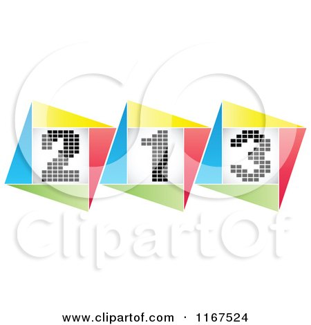 Clipart of Colorful Placement Podiums - Royalty Free Vector Illustration by Andrei Marincas