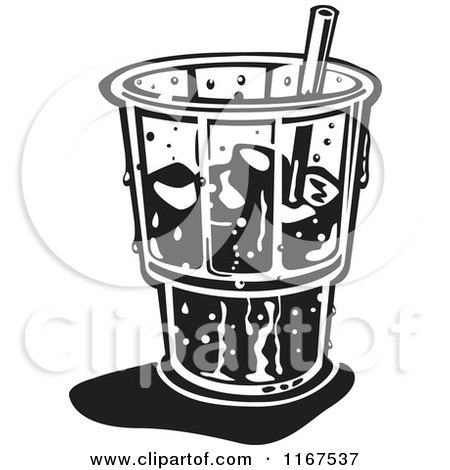 Clipart of a Black and White Retro Ice Cold Glass with a Straw and Ice - Royalty Free Vector Illustration by Andy Nortnik