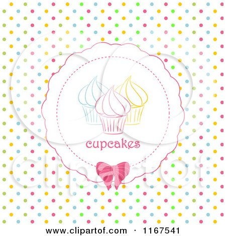 Clipart of a Cupcake Label over Colorful Polka Dots - Royalty Free Vector Illustration by elaineitalia