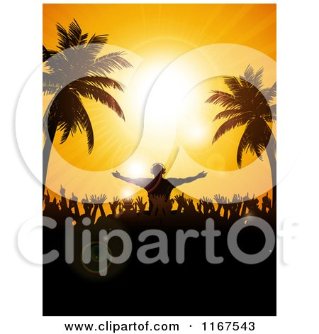 Clipart of a Dj Above a Dance Floor, Silhouetted Against a Tropical Sunset Sky - Royalty Free Vector Illustration by elaineitalia