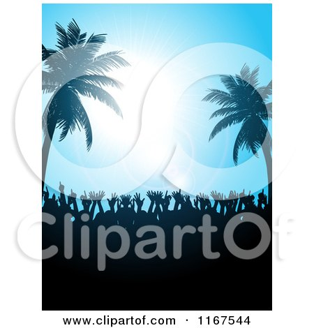 Clipart of a Silhouetted Crowd Dancing Under Palm Trees and a Blue Sky with Flares - Royalty Free Vector Illustration by elaineitalia