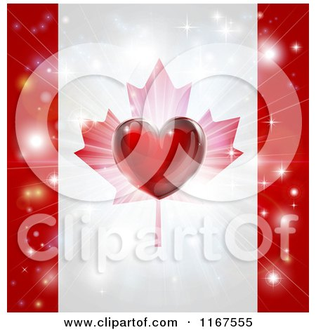 Clipart of a Shiny Red Heart and Fireworks over a Canadian Flag - Royalty Free Vector Illustration by AtStockIllustration