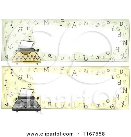 Cartoon of Typewriter Website Headers with Copyspace - Royalty Free Vector Clipart by BNP Design Studio