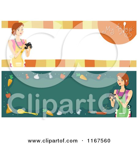Cartoon of Cooking Blog Banners with Women and Copyspace - Royalty Free Vector Clipart by BNP Design Studio