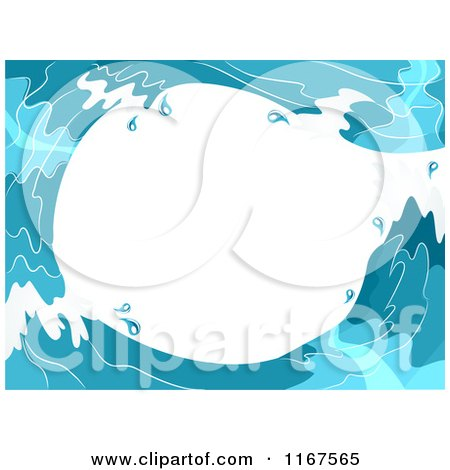 Cartoon of a Background of Blue Water Waves Forming a Tunnel with White Copyspace - Royalty Free Vector Clipart by BNP Design Studio