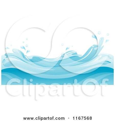 Cartoon of a Background of Blue Water and Splashing Waves - Royalty Free Vector Clipart by BNP Design Studio