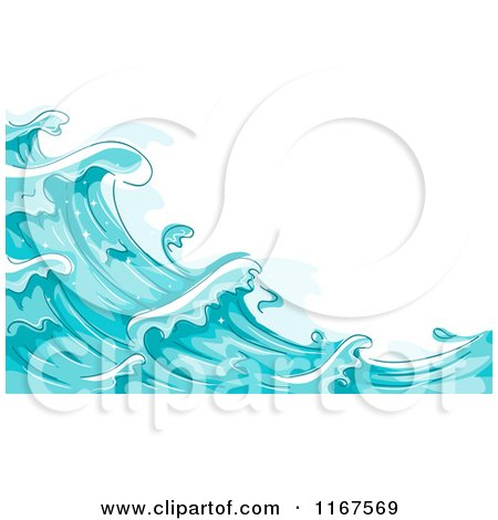 Cartoon of a Background of Blue Water and Splashing Waves 2 - Royalty Free Vector Clipart by BNP Design Studio