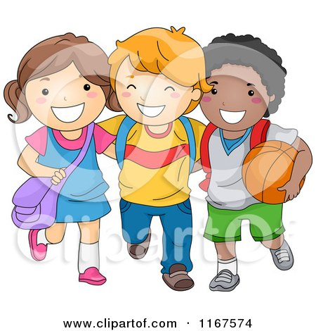 Cartoon of a Group of Happy Diverse School Children - Royalty Free Vector Clipart by BNP Design Studio