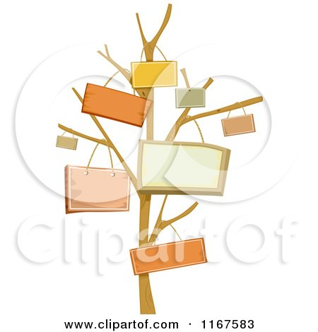 Cartoon of a Bare Tree with Signs Hanging from the Branches - Royalty Free Vector Clipart by BNP Design Studio
