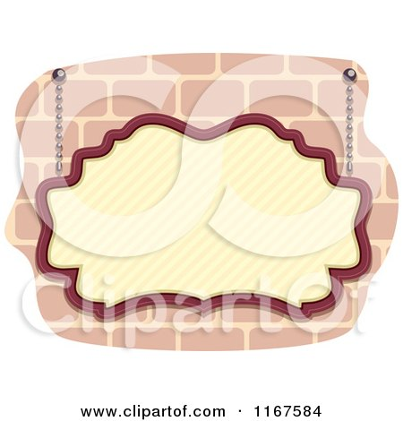 Cartoon of a Vintage Sign Suspended over Bricks - Royalty Free Vector Clipart by BNP Design Studio