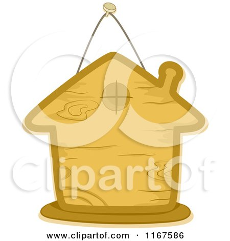 Cartoon of a Wooden Sign in the Shape of a House - Royalty Free Vector Clipart by BNP Design Studio