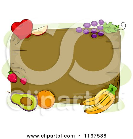 Cartoon of a Wood Board and Fruit with Copyspace - Royalty Free Vector Clipart by BNP Design Studio