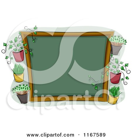 Cartoon of a Chalkboard Sign with Plants and Copyspace - Royalty Free Vector Clipart by BNP Design Studio