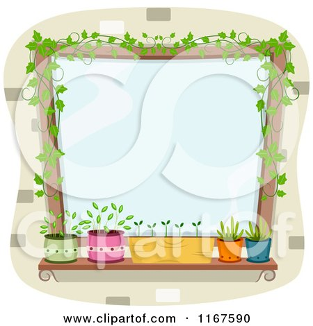 Cartoon of a Window with Potted Plants and Vines with Copyspace - Royalty Free Vector Clipart by BNP Design Studio