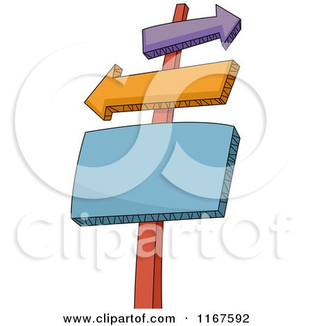 Cartoon of a Sign Post with Arrow and Rectangle Signs - Royalty Free Vector Clipart by BNP Design Studio