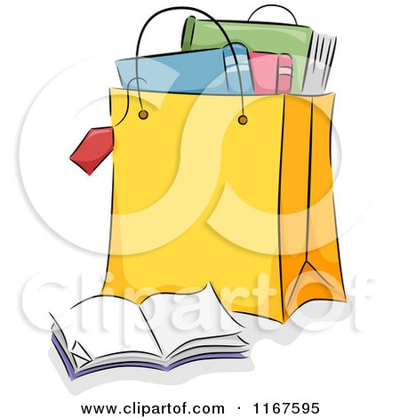 Cartoon of a Shopping Bag Full of Books - Royalty Free Vector Clipart by BNP Design Studio