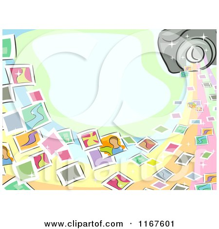 Cartoon of a Photography Background with Snapshots a Camera and Copyspace - Royalty Free Vector Clipart by BNP Design Studio