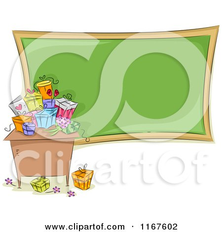 Cartoon of a Desk with Gifts and a Chalkboard on Teachers Day - Royalty Free Vector Clipart by BNP Design Studio