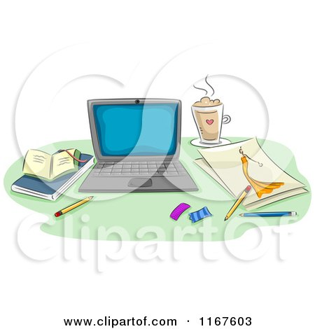 Cartoon of a Laptop Fashion Sketch Coffee and Books on a Desk - Royalty Free Vector Clipart by BNP Design Studio