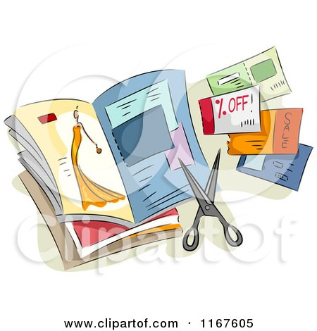 Cartoon of a Magazine with Clipped Coupons and Scissors - Royalty Free Vector Clipart by BNP Design Studio