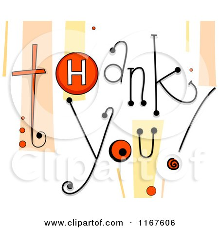 Cartoon of Thank You Text with Retro Streaks and Buttons - Royalty Free Vector Clipart by BNP Design Studio