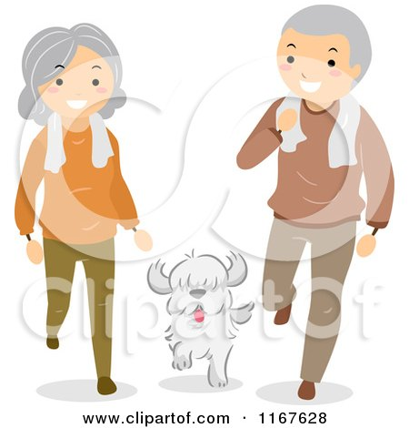 Cartoon of a Fit Senior Couple with Their Dog - Royalty Free Vector Clipart by BNP Design Studio