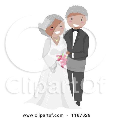 Cartoon of a Happy Black Senior Wedding Couple - Royalty Free Vector Clipart by BNP Design Studio