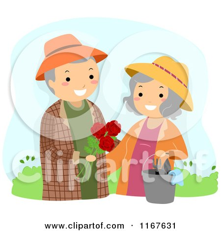 Happy Senior Couple with the Man Giving His Wife Roses in the Garden Posters, Art Prints