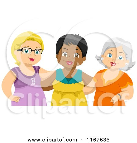 Cartoon of a Group of Diverse Middle Aged Female Friends - Royalty Free Vector Clipart by BNP Design Studio