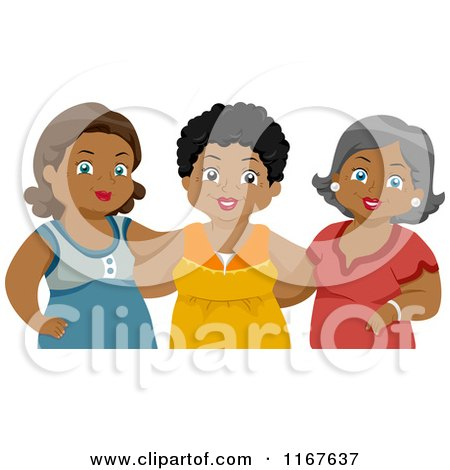 Cartoon of a Group of Diverse Middle Aged Female Friends 2 - Royalty Free Vector Clipart by BNP Design Studio