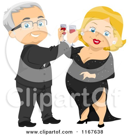 Cartoon of a Formal Senior Couple Toasting at a Party - Royalty Free Vector Clipart by BNP Design Studio