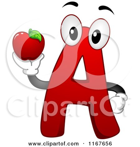 Cartoon of a Red Letter a School Mascot Holding an Apple - Royalty Free Vector Clipart by BNP Design Studio