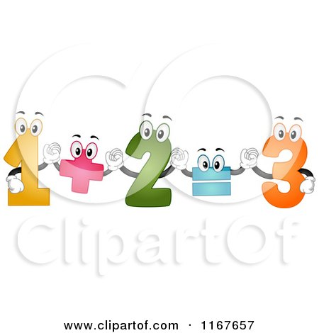 Cartoon of Colorful Number Mascots Performing an Addition Formula - Royalty Free Vector Clipart by BNP Design Studio