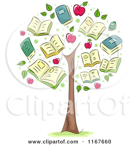 Cartoon of a Tree with School Book and Apple Foliage - Royalty Free Vector Clipart by BNP Design Studio