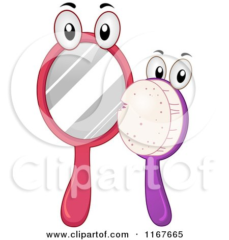 Cartoon of Hand Mirror and Brush Mascots - Royalty Free Vector Clipart by BNP Design Studio