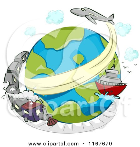 Cartoon Of A Globe With A Train Ship And Airplane Royalty Free Vector Clipart