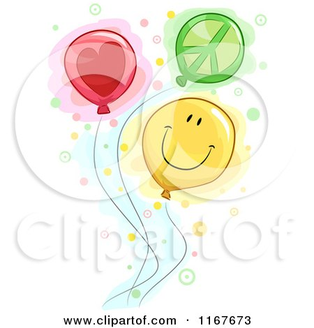 Cartoon of Peace Love and Happiness Balloons - Royalty Free Vector Clipart by BNP Design Studio
