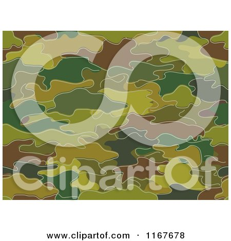 Cartoon of a Seamless Green and Brown Camouflage Pattern - Royalty Free Vector Clipart by BNP Design Studio