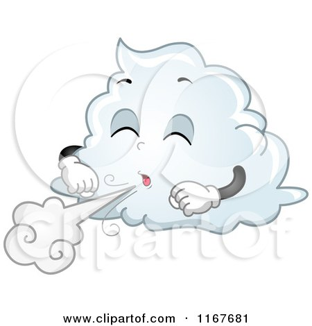 Cartoon of a Cloud Mascot Blowing Wind - Royalty Free Vector Clipart by BNP Design Studio