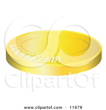 Lucky Golden Penny Coin Clipart Illustration by AtStockIllustration