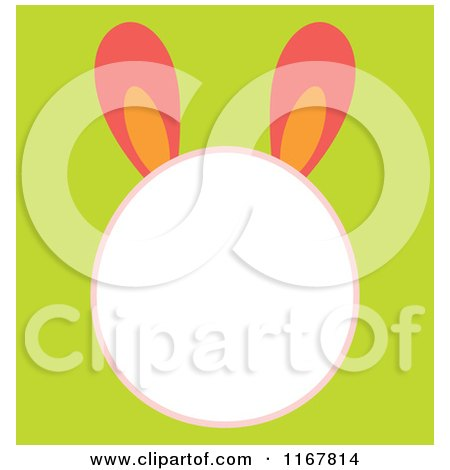 Cartoon of an Easter Bunny Head Frame on Green - Royalty Free Vector Clipart by Cherie Reve