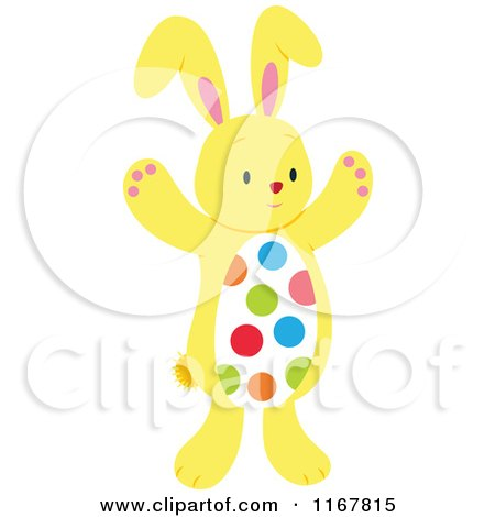 Cartoon of a Yellow Easter Bunny with a Polka Dot Belly - Royalty Free Vector Clipart by Cherie Reve