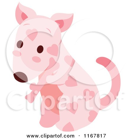 Cartoon of a Cute Pink Valentine Heart Patterned Puppy with a Bone - Royalty Free Vector Clipart by Cherie Reve