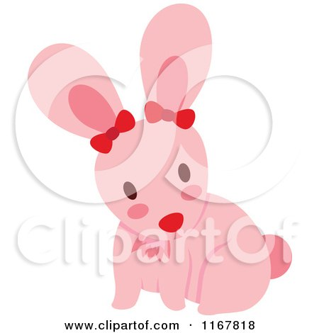 Cartoon Of A Cute Pink Bunny Rabbit With Bows Royalty
