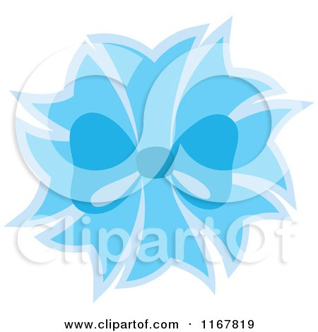 Cartoon of a Blue Bow and Ribbons - Royalty Free Vector Clipart by Cherie Reve