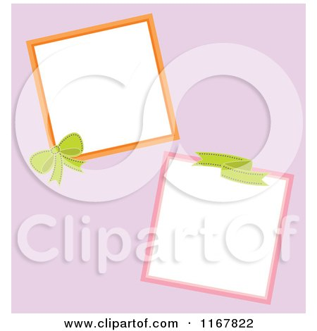 Cartoon of Bow and Ribbon Frames on Pink - Royalty Free Vector Clipart by Cherie Reve