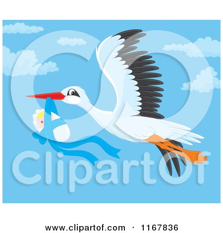 Cartoon of a Bundled up Baby Boy Hanging from a Flying Storks Beak - Royalty Free Vector Clipart by Alex Bannykh